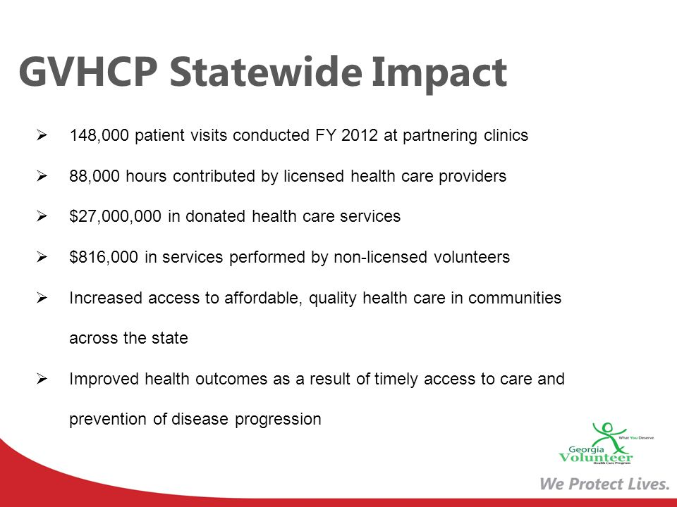 GVHCP Statewide Impact 148,000 patient visits conducted FY 2012 at partnering clinics 88,000 hours contributed by licensed health care providers $27,0
