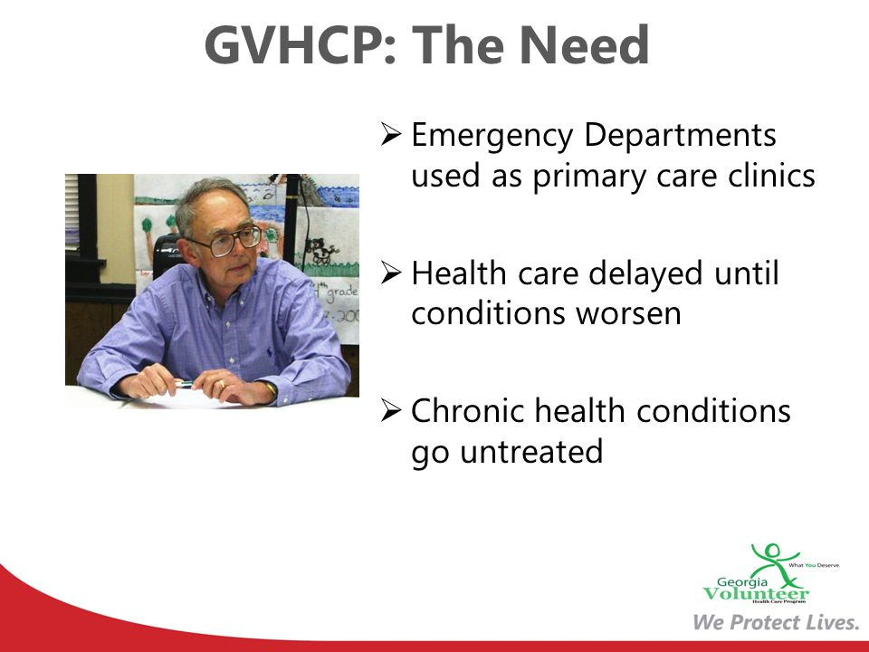 GVHCP: The Need Emergency Departments used as primary care clinics Health care delayed until conditions worsen Chronic health conditions go untreated