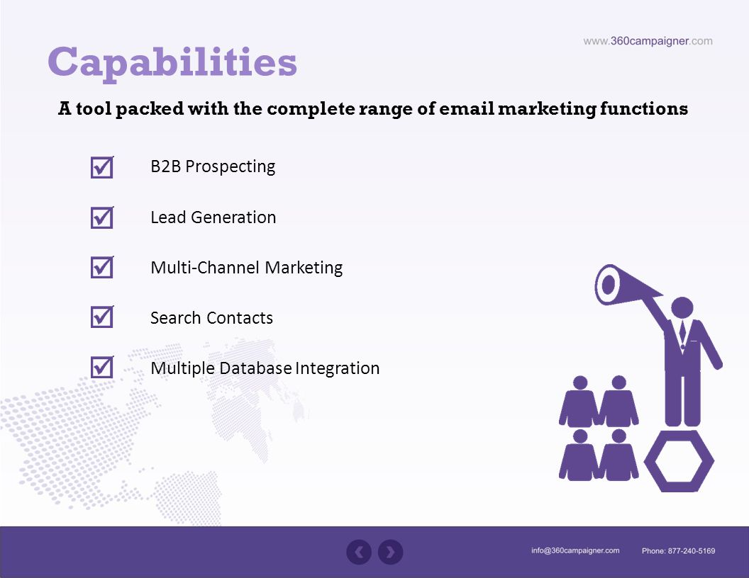 Capabilities A tool packed with the complete range of  marketing functions B2B Prospecting Lead Generation Multi-Channel Marketing Search Contacts Multiple Database Integration