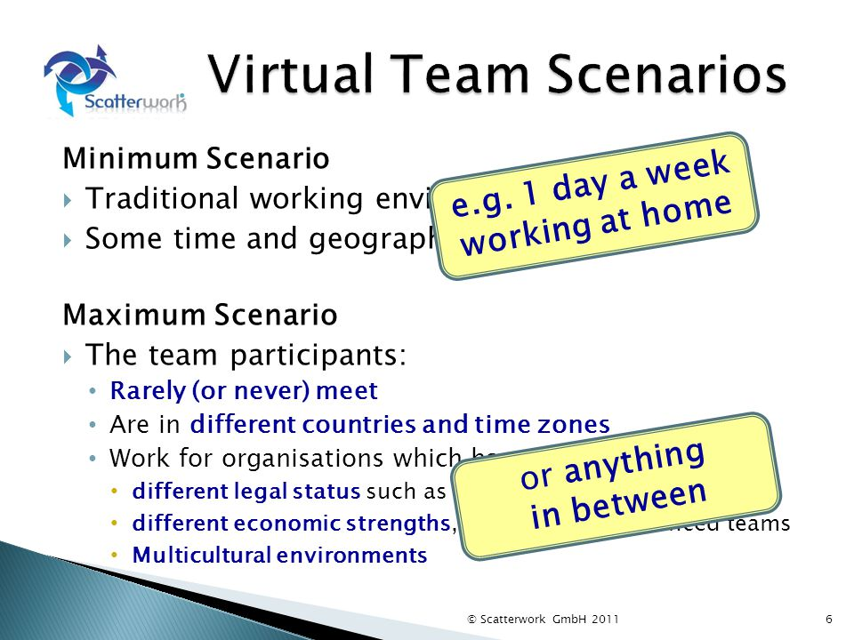 Minimum Scenario Traditional working environment Some time and geographic discretion Maximum Scenario The team participants: Rarely (or never) meet Ar