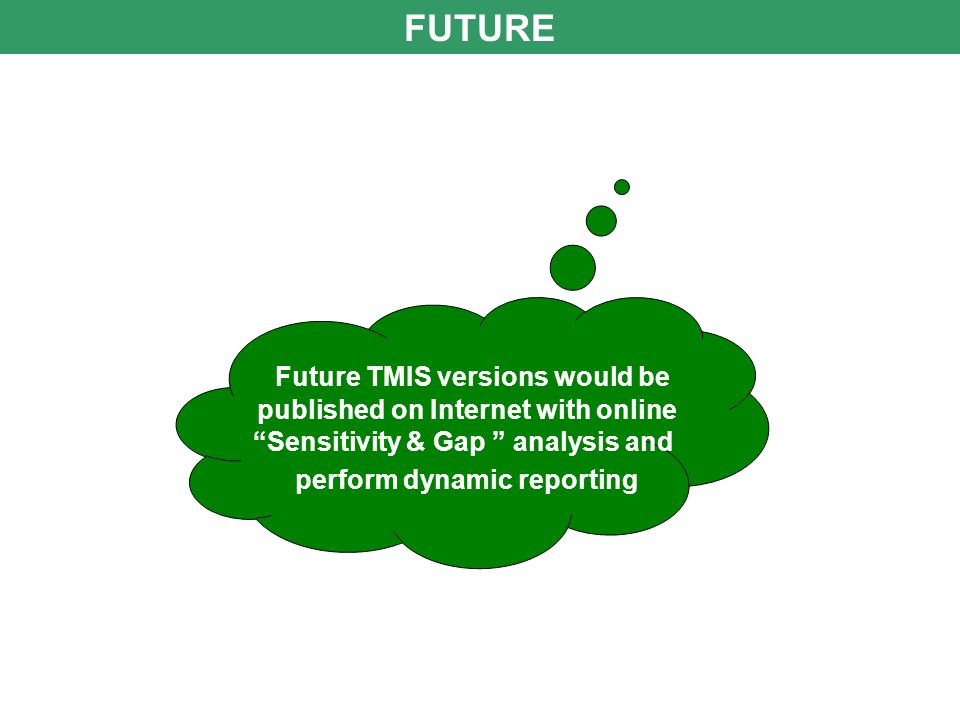 FUTURE Future TMIS versions would be published on Internet with online Sensitivity & Gap analysis and perform dynamic reporting