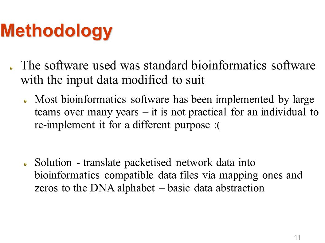 Methodology The software used was standard bioinformatics software with the input data modified to suit Most bioinformatics software has been implemen