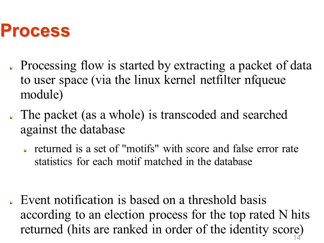 Process Processing flow is started by extracting a packet of data to user space (via the linux kernel netfilter nfqueue module) The packet (as a whole