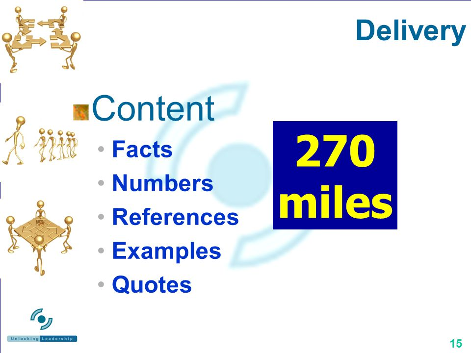 15 Content Facts Numbers References Examples Quotes Delivery 270 miles