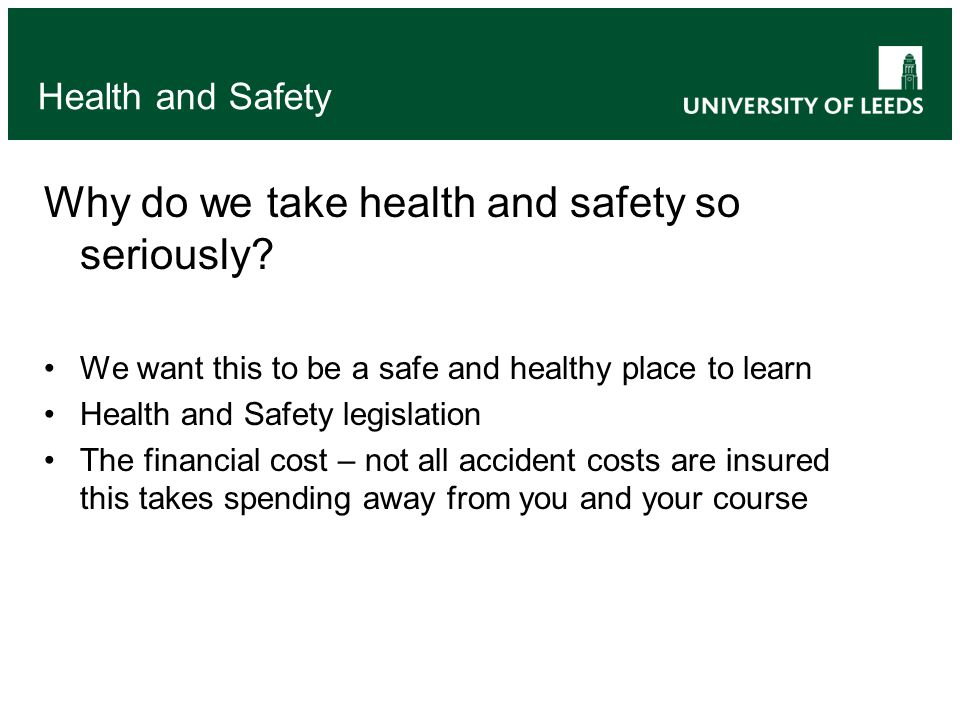 1 2 3 4 5 And accidents do happen: Health and Safety