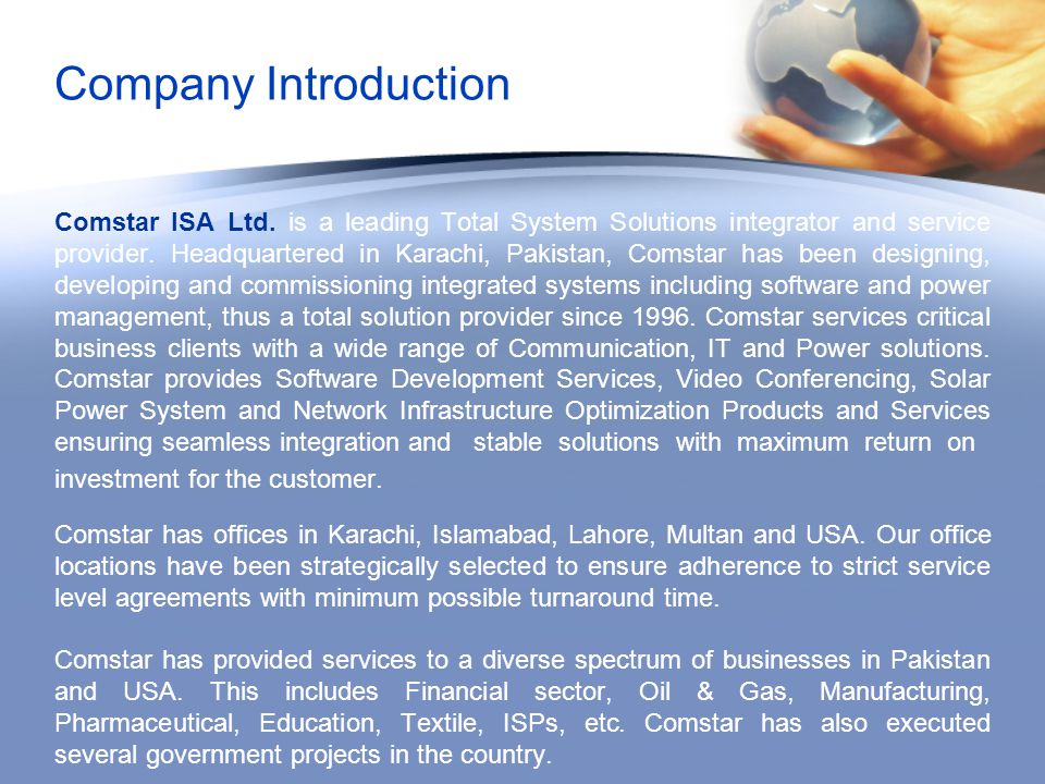 Company Introduction Comstar ISA Ltd.
