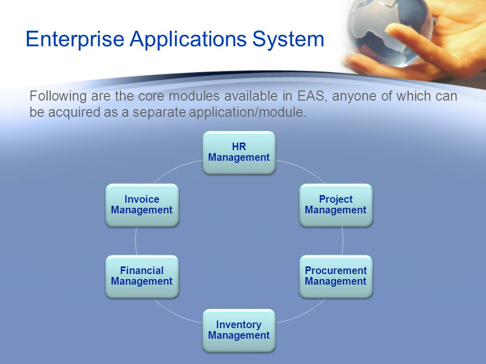 Following are the core modules available in EAS, anyone of which can be acquired as a separate application/module.