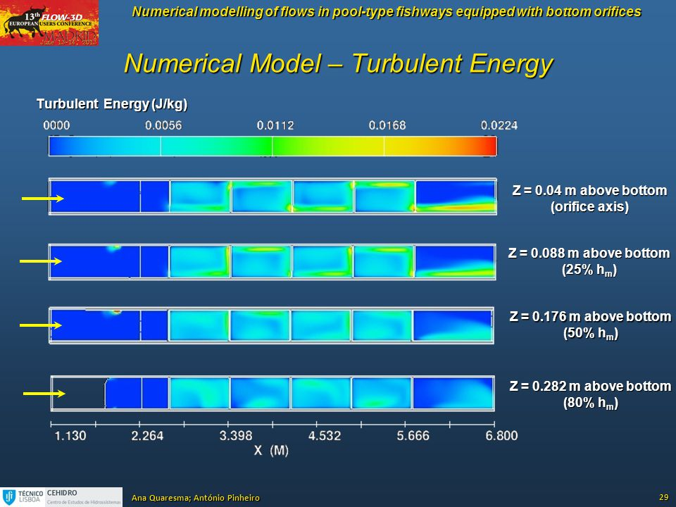 Numerical modelling of flows in pool-type fishways equipped with bottom orifices Ana Quaresma; António Pinheiro Numerical Model – Turbulent Energy 29