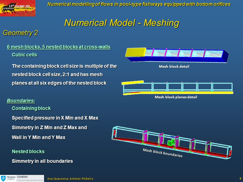Numerical modelling of flows in pool-type fishways equipped with bottom orifices Ana Quaresma; António Pinheiro Numerical Model - Meshing 8 Geometry 2
