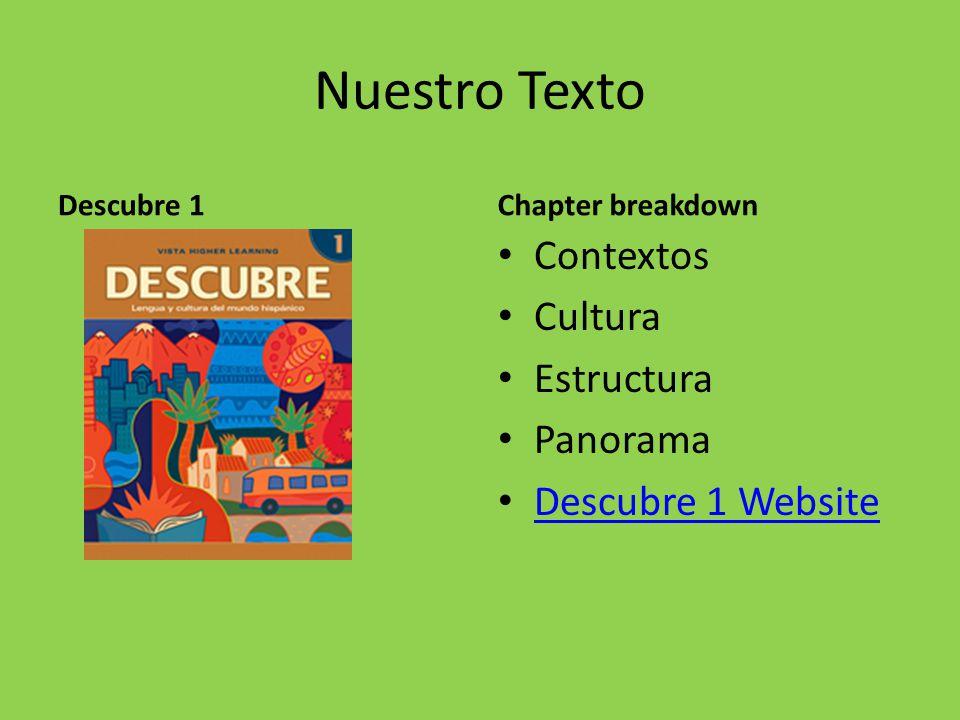 Nuestro Texto Descubre 1Chapter breakdown Contextos Cultura Estructura Panorama Descubre 1 Website