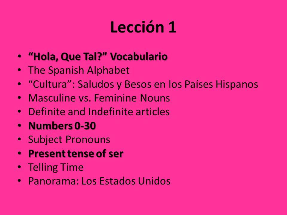 Lección 1 Hola, Que Tal. Vocabulario Hola, Que Tal.