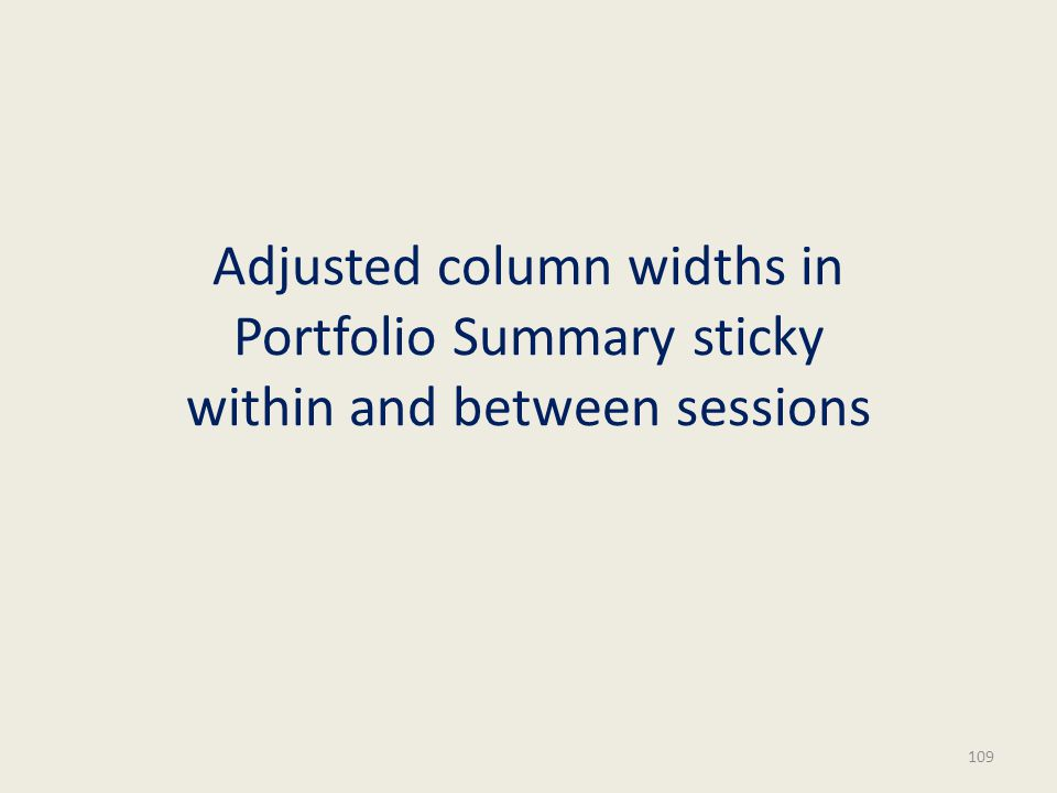 Adjusted column widths in Portfolio Summary sticky within and between sessions 109
