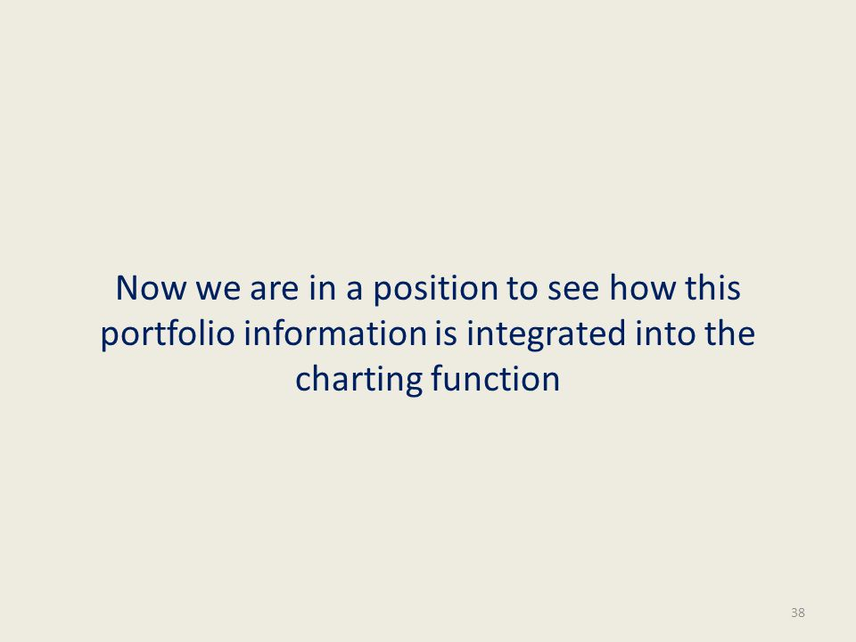 Now we are in a position to see how this portfolio information is integrated into the charting function 38