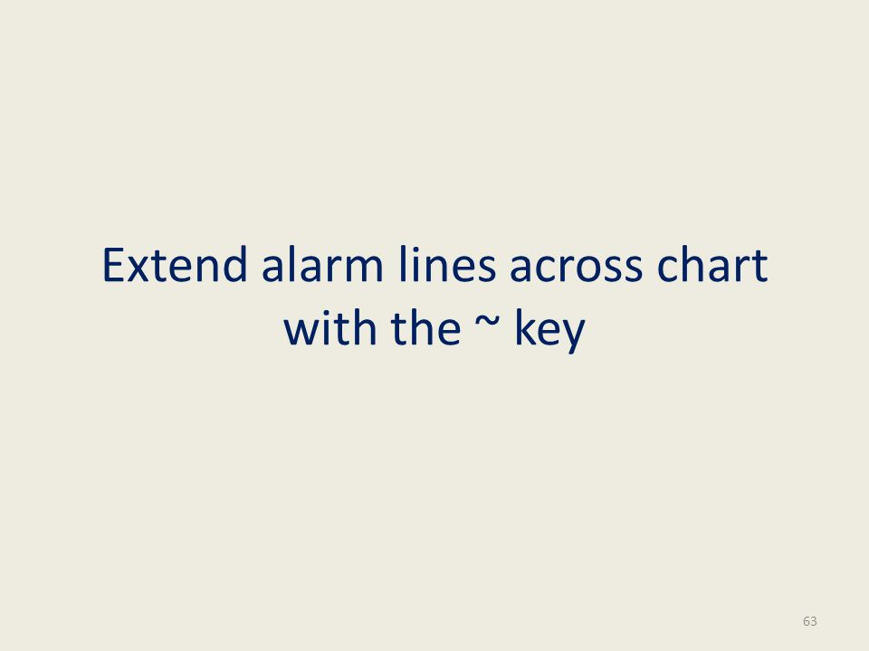 Extend alarm lines across chart with the ~ key 63
