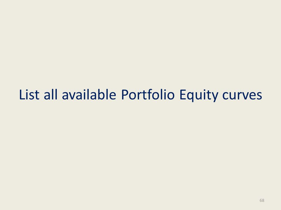 List all available Portfolio Equity curves 68