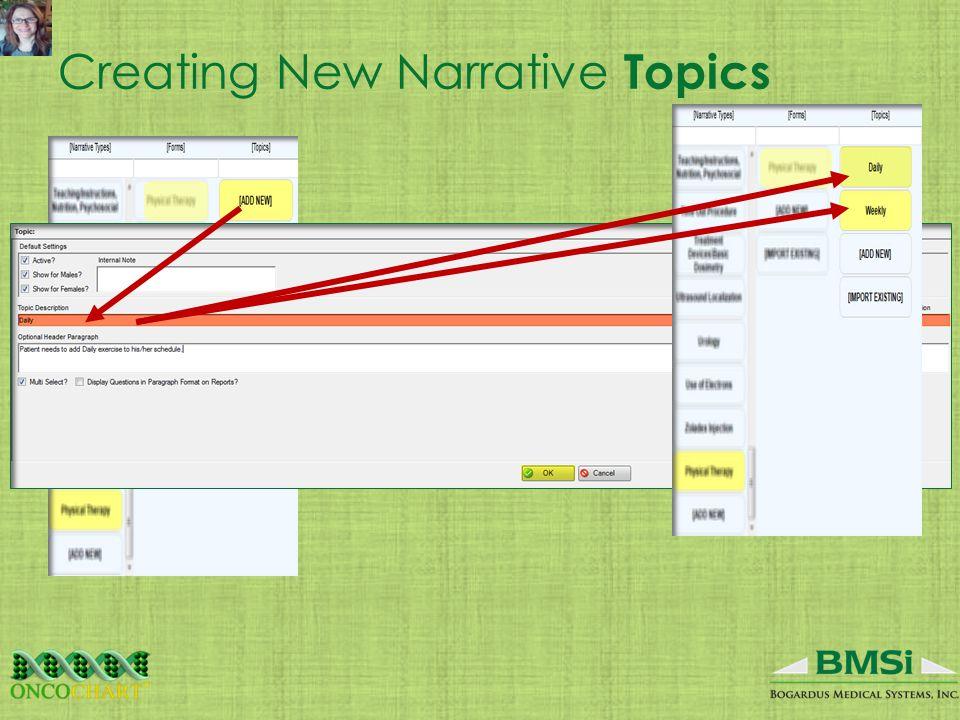 Creating New Narrative Topics