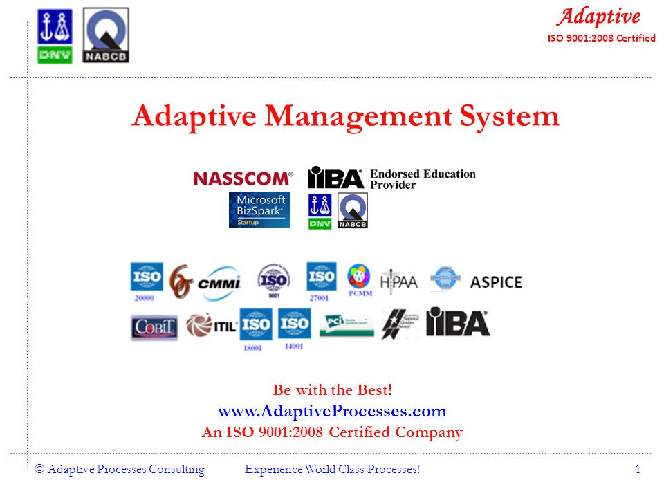 Quality Consulting © Adaptive Processes ConsultingExperience World Class Processes!1 Adaptive Management System Be with the Best.