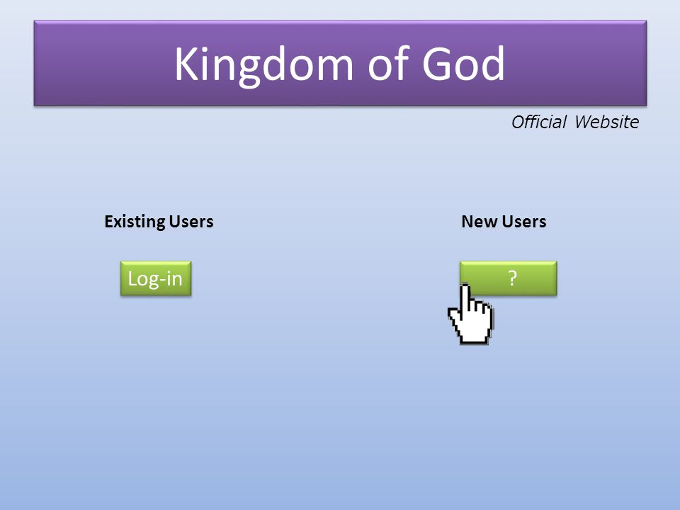 Kingdom of God Existing UsersNew Users Log-in ? ? Official Website