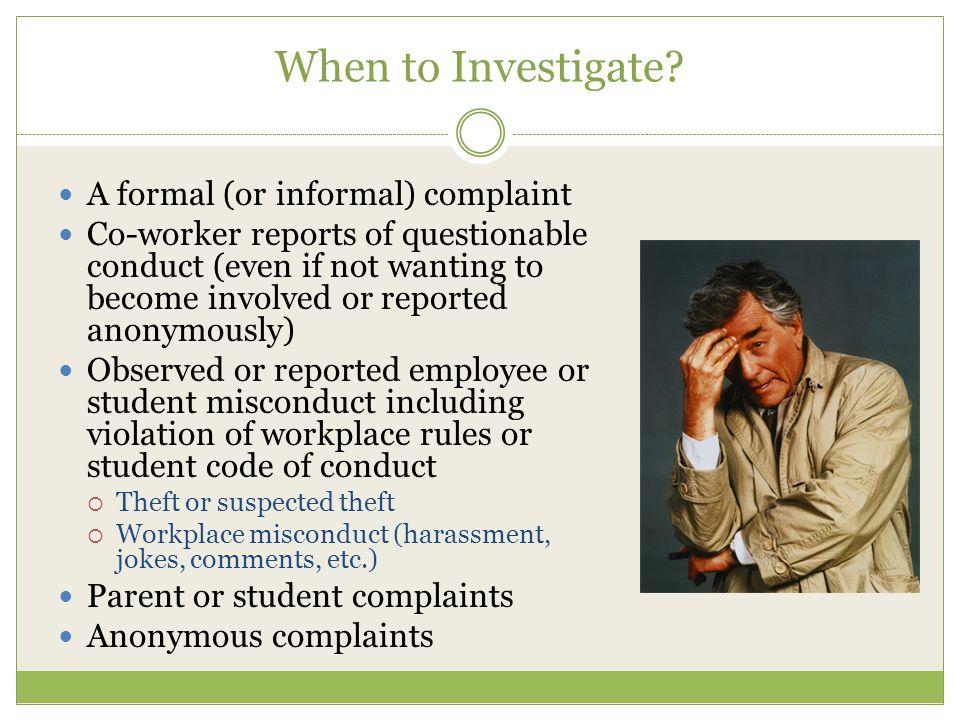 When to Investigate.