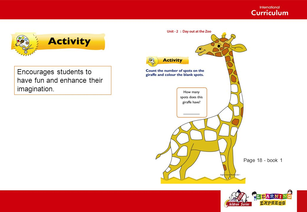 Encourages students to have fun and enhance their imagination. Page 18 - book 1