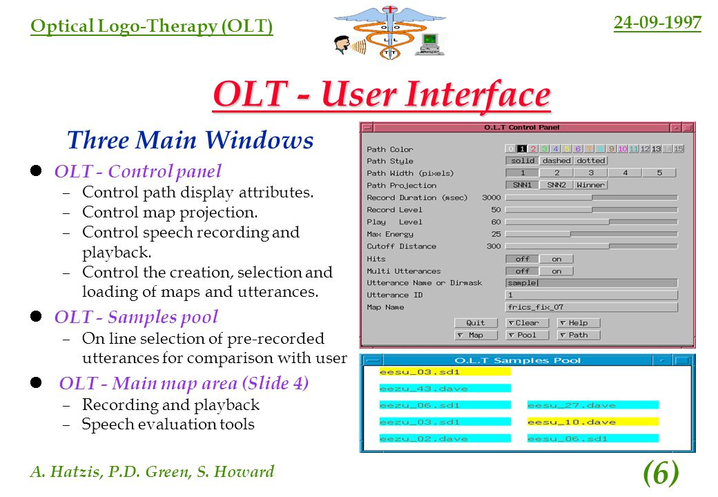 24-09-1997 A. Hatzis, P.D. Green, S. Howard (5) Optical Logo-Therapy (OLT) Creating an OLT Phonetic Map Three Stages Learning Vector Quantisation (LVQ