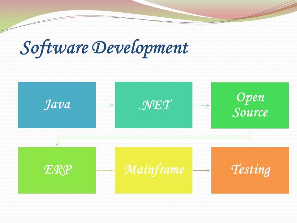 Software Development Java. NET Open Source ERPMainframeTesting