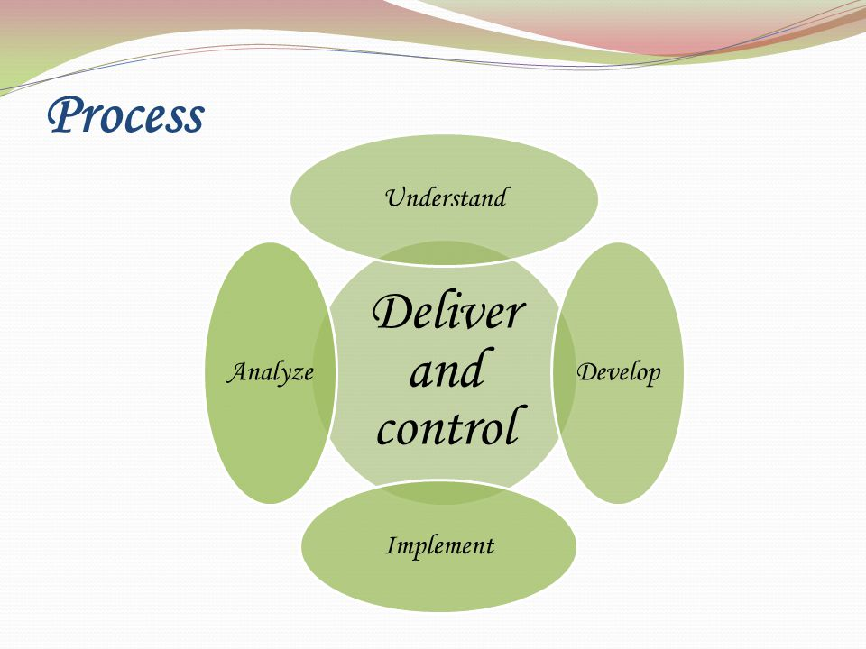 Process Deliver and control Understand Develop Implement Analyze