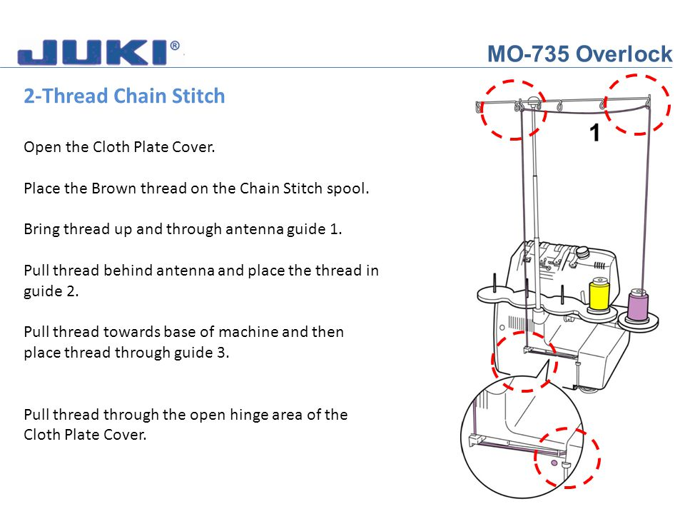MO-735 Overlock 2-Thread Chain Stitch Open the Cloth Plate Cover. Place the Brown thread on the Chain Stitch spool. Bring thread up and through antenn