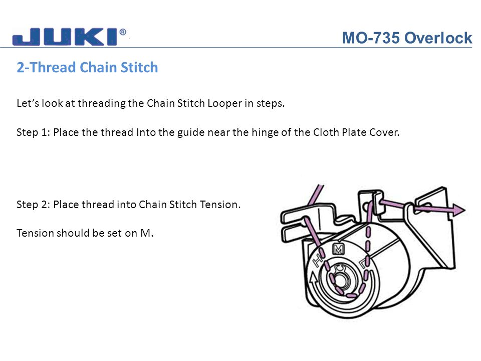 MO-735 Overlock 2-Thread Chain Stitch Lets look at threading the Chain Stitch Looper in steps. Step 1: Place the thread Into the guide near the hinge