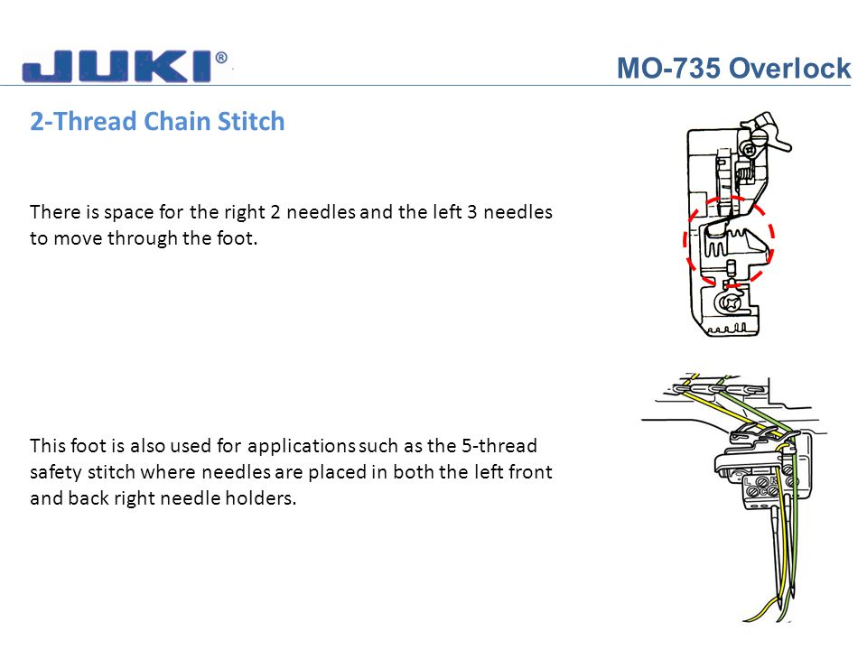 MO-735 Overlock 2-Thread Chain Stitch Once you have looped around the guide You will see how the thread lays against the take up lever.