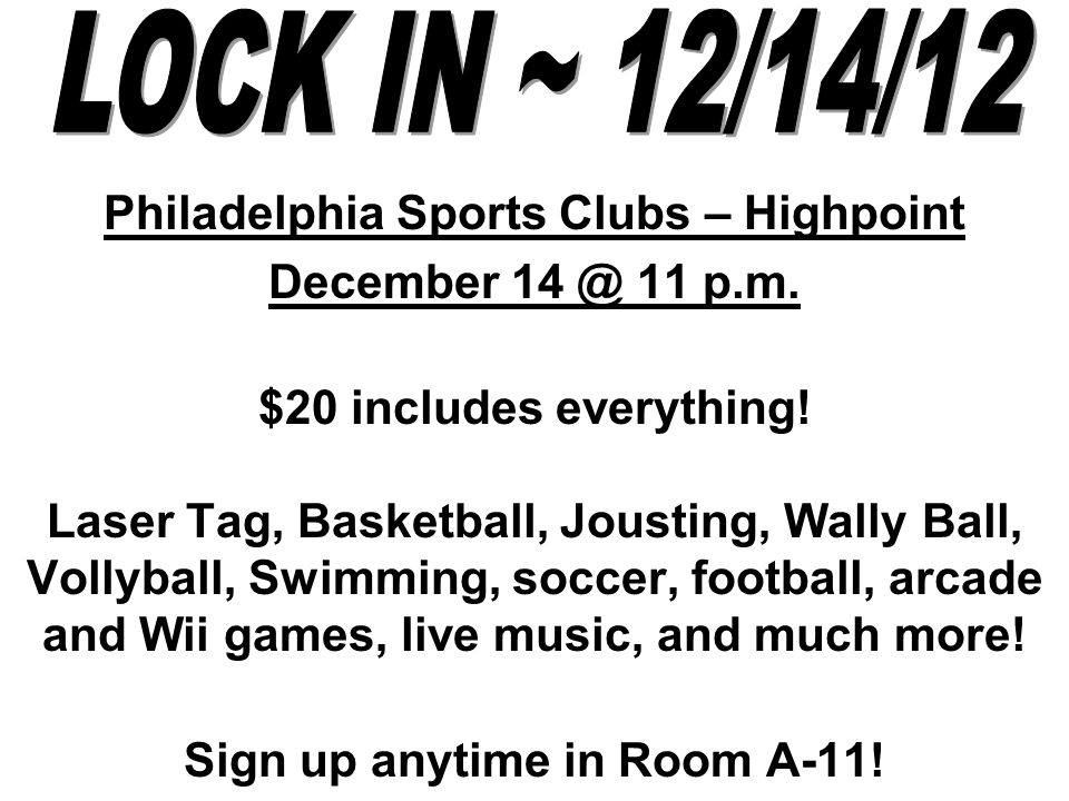 Philadelphia Sports Clubs – Highpoint December 11 p.m.