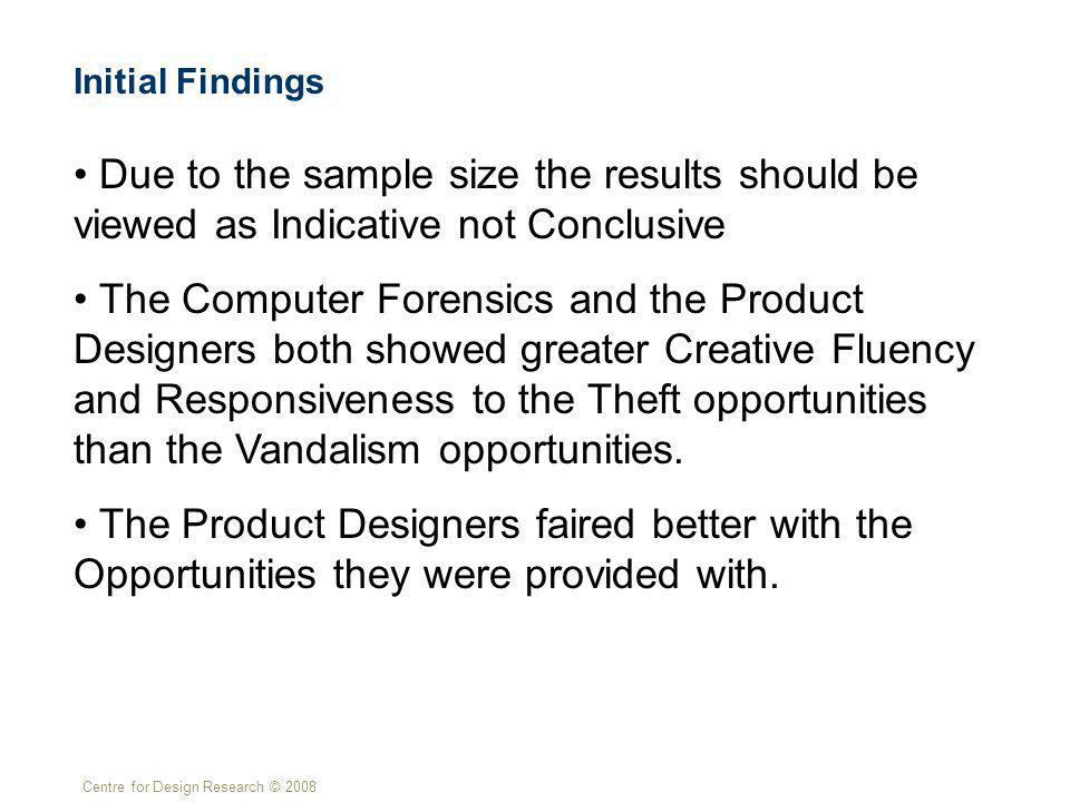 Centre for Design Research © 2008 Initial Findings Due to the sample size the results should be viewed as Indicative not Conclusive The Computer Forensics and the Product Designers both showed greater Creative Fluency and Responsiveness to the Theft opportunities than the Vandalism opportunities.