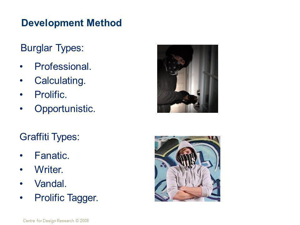 Centre for Design Research © 2008 Development Method Burglar Types: Professional.