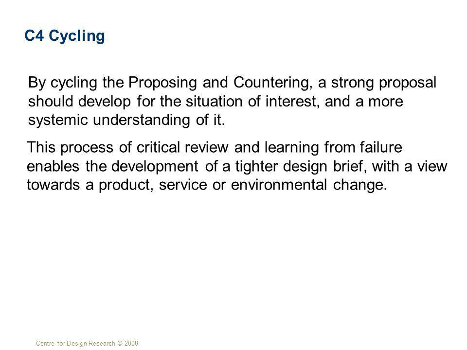 Centre for Design Research © 2008 C4 Cycling By cycling the Proposing and Countering, a strong proposal should develop for the situation of interest, and a more systemic understanding of it.