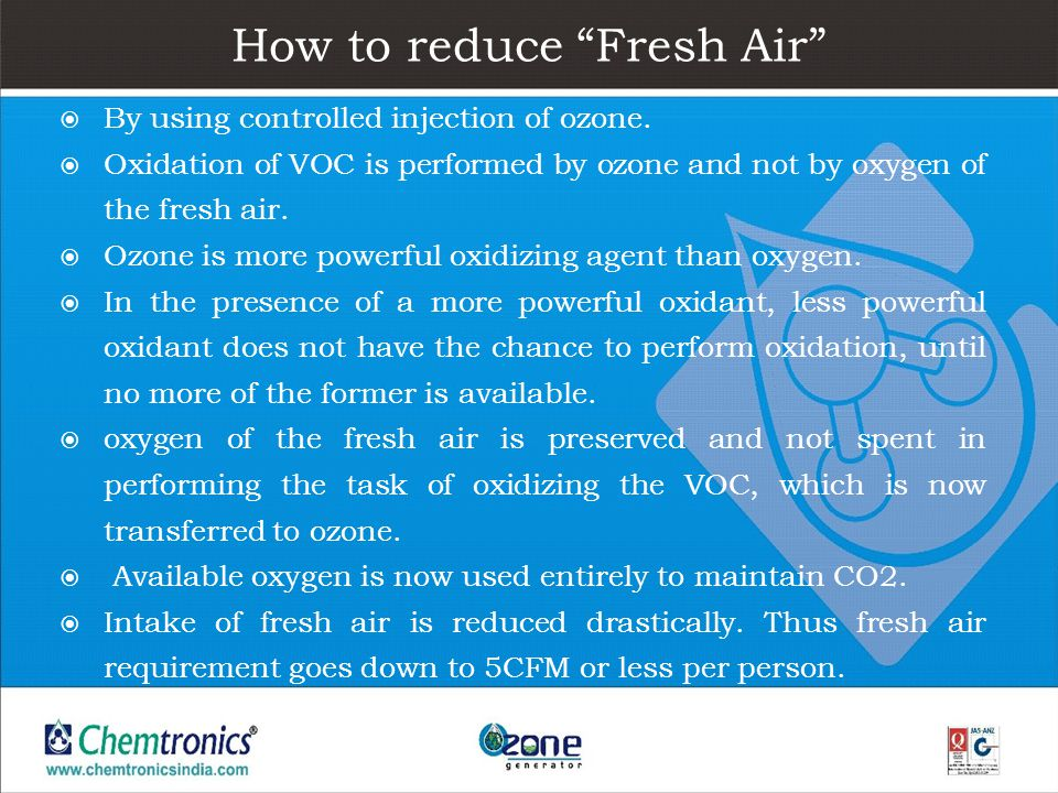 How to reduce Fresh Air By using controlled injection of ozone. Oxidation of VOC is performed by ozone and not by oxygen of the fresh air. Ozone is mo