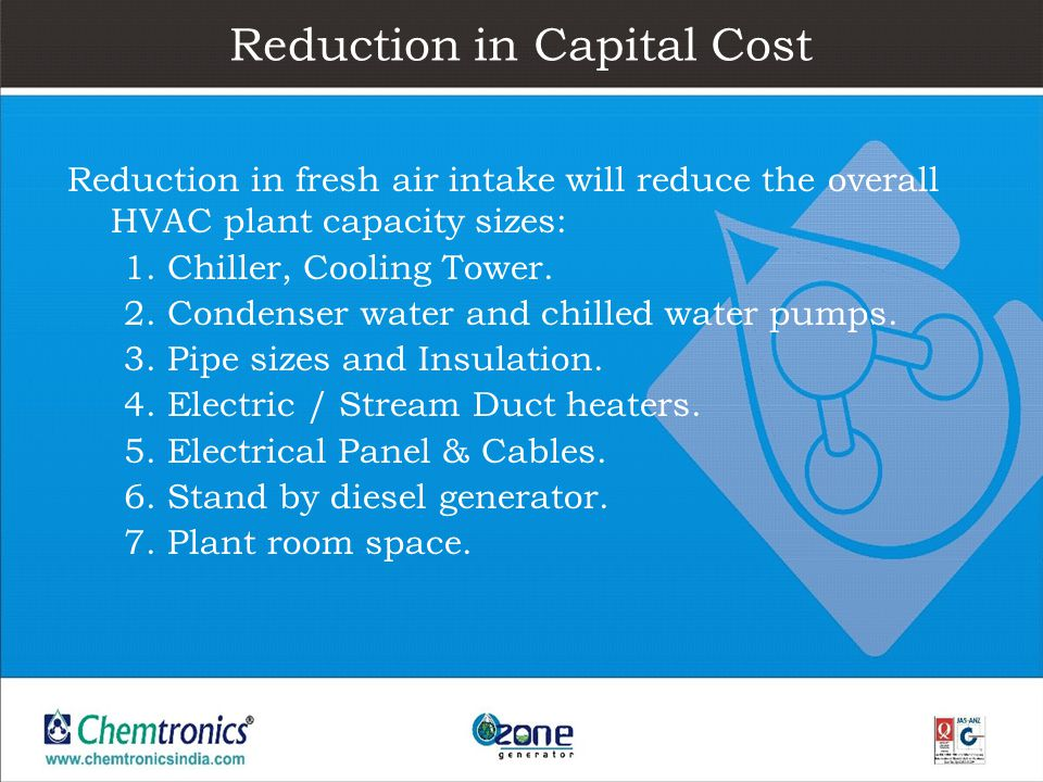 Reduction in Capital Cost Reduction in fresh air intake will reduce the overall HVAC plant capacity sizes: 1. Chiller, Cooling Tower. 2. Condenser wat