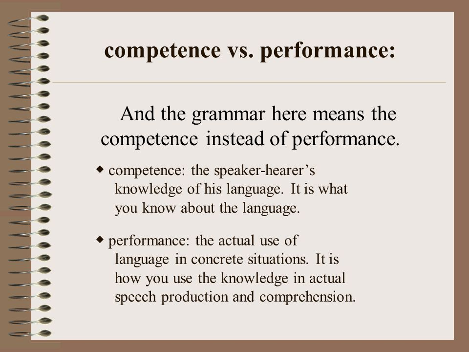 competence vs. performance: And the grammar here means the competence instead of performance.