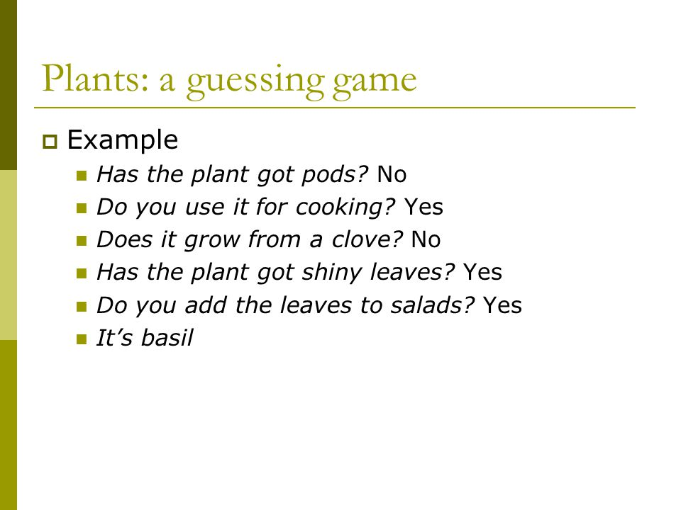 Plants: a guessing game Example Has the plant got pods.