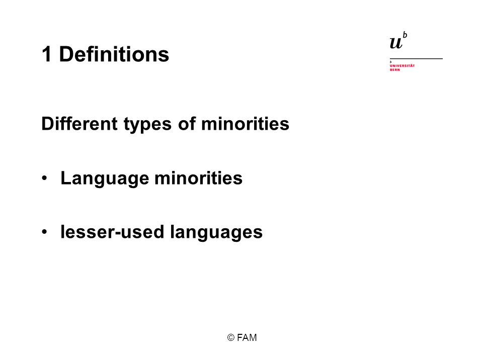 1 Definitions Different types of minorities Language minorities lesser-used languages