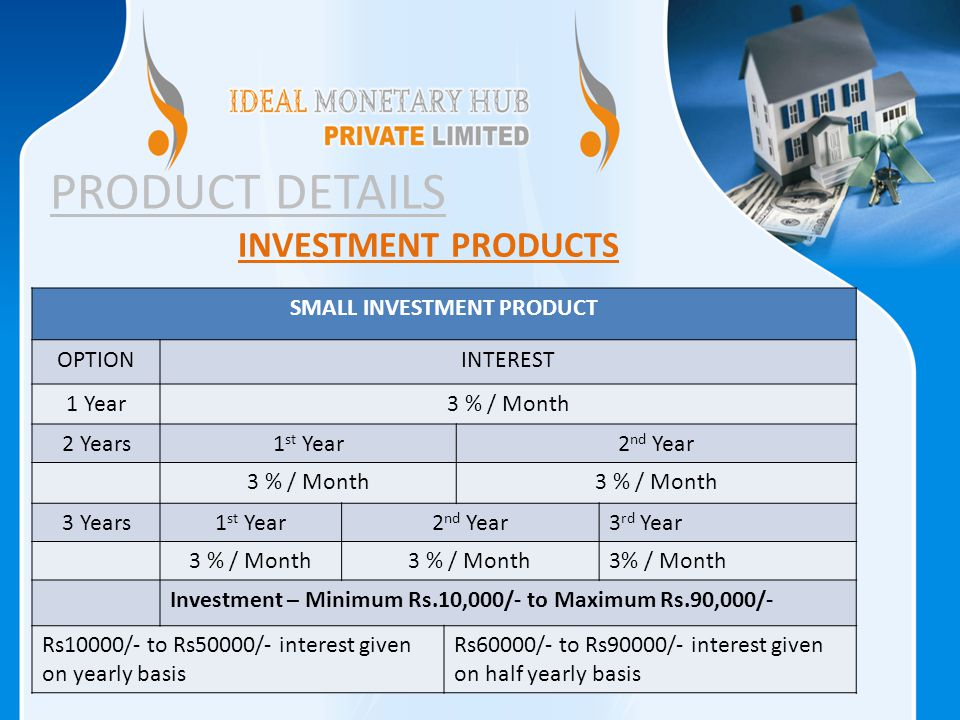 PRODUCT DETAILS INVESTMENT PRODUCTS SMALL INVESTMENT PRODUCT OPTIONINTEREST 1 Year3 % / Month 2 Years1 st Year2 nd Year 3 % / Month 3 Years1 st Year2 nd Year3 rd Year 3 % / Month Investment – Minimum Rs.10,000/- to Maximum Rs.90,000/- Rs10000/- to Rs50000/- interest given on yearly basis Rs60000/- to Rs90000/- interest given on half yearly basis