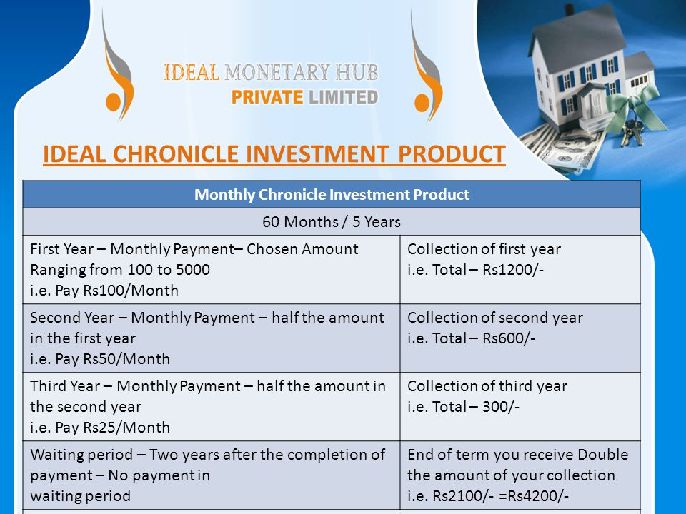IDEAL CHRONICLE INVESTMENT PRODUCT Monthly Chronicle Investment Product 60 Months / 5 Years First Year – Monthly Payment– Chosen Amount Ranging from 100 to 5000 i.e.