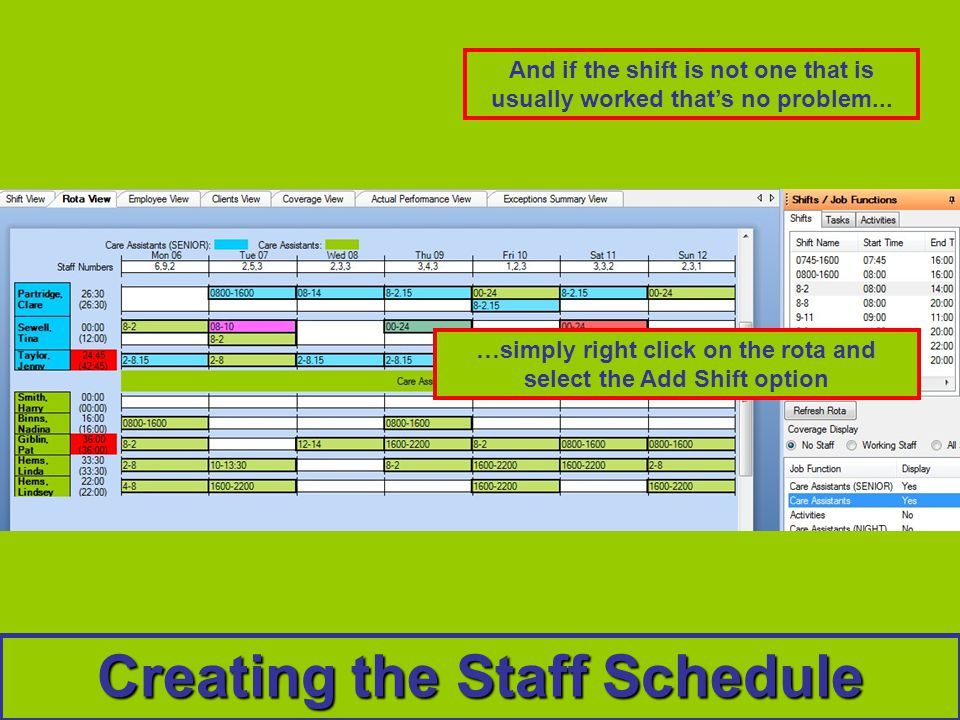 Creating the Staff Schedule And if the shift is not one that is usually worked thats no problem...