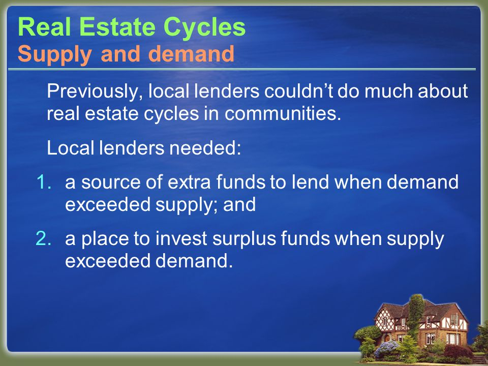 Real Estate Cycles Previously, local lenders couldnt do much about real estate cycles in communities.