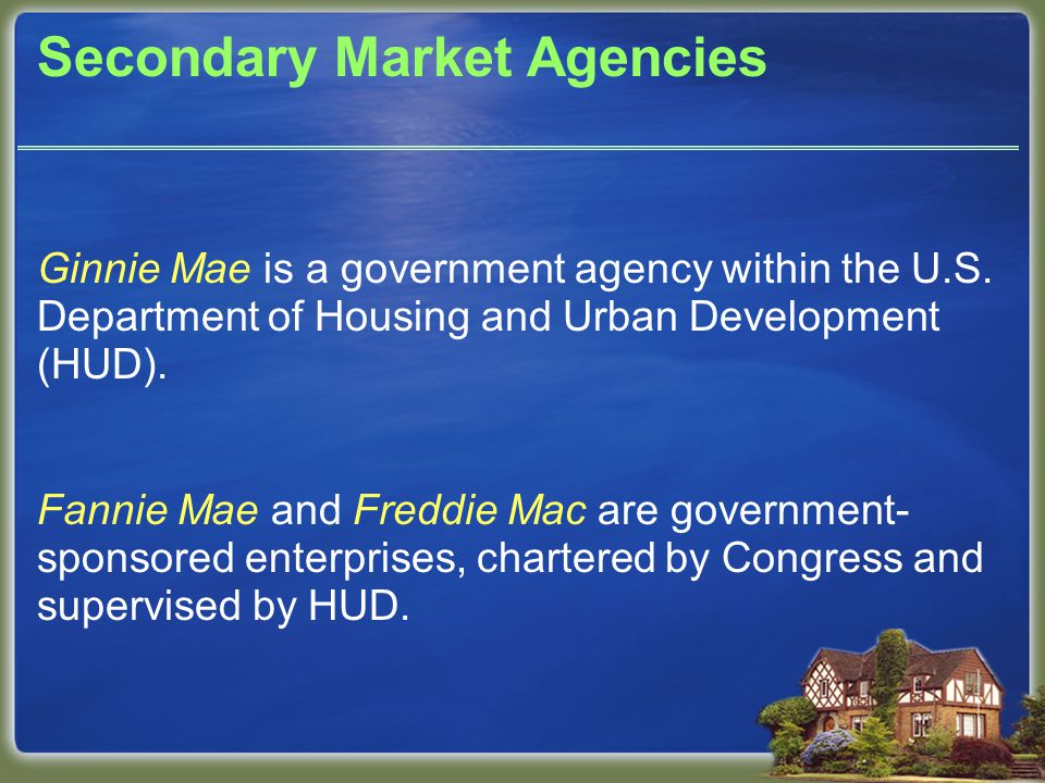 Secondary Market Agencies Ginnie Mae is a government agency within the U.S.