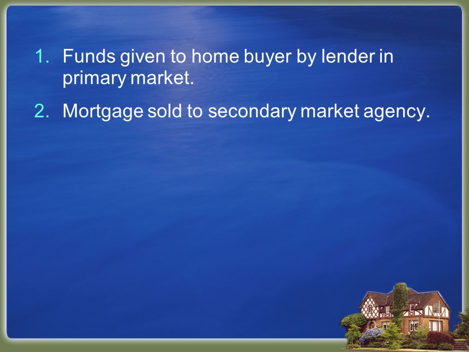 2.Mortgage sold to secondary market agency.