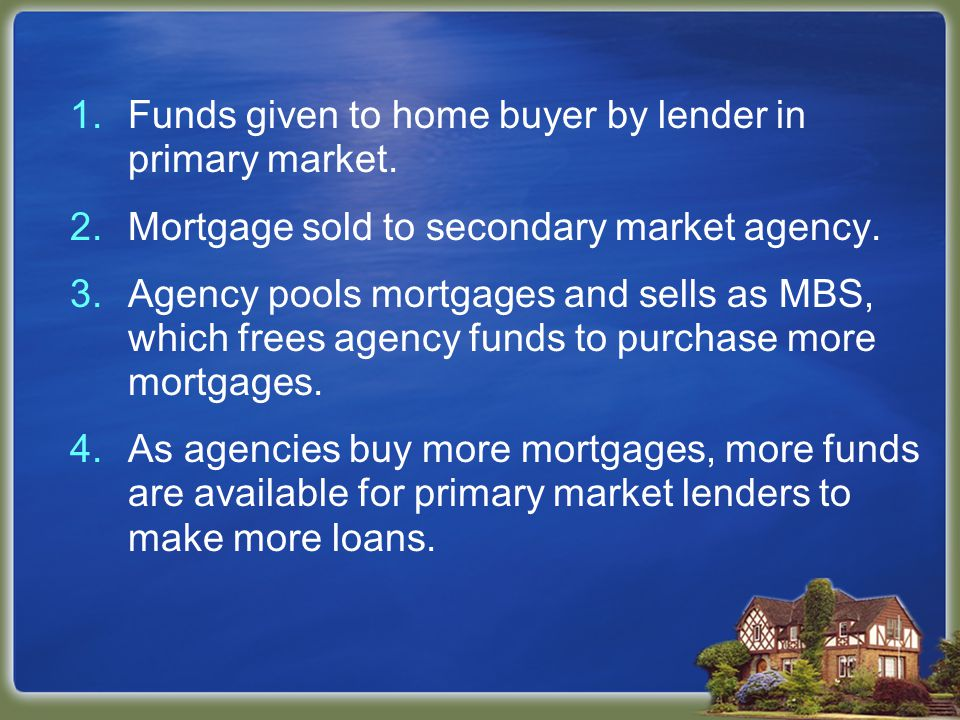 1.Funds given to home buyer by lender in primary market.
