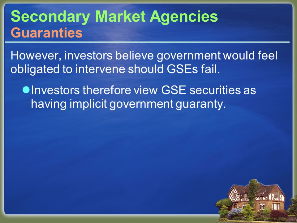 Secondary Market Agencies However, investors believe government would feel obligated to intervene should GSEs fail.