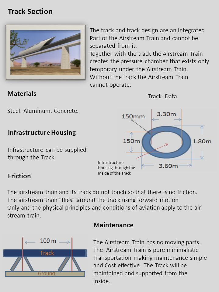 3/16/2011 Friction The airstream train and its track do not touch so that there is no friction. The airstream train flies around the track using forwa