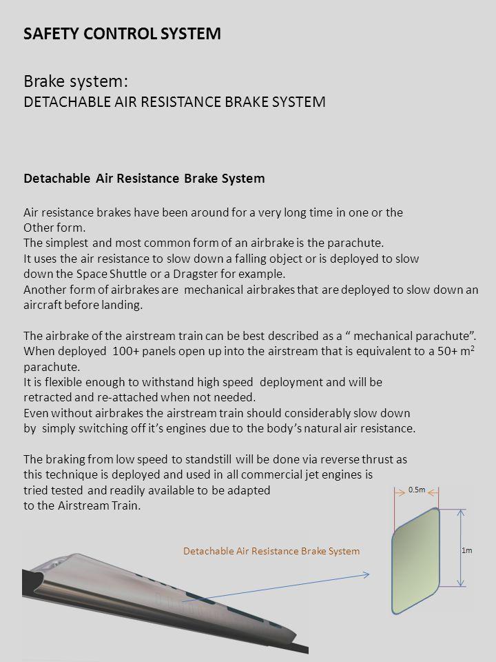 3/16/2011 SAFETY CONTROL SYSTEM Brake system: DETACHABLE AIR RESISTANCE BRAKE SYSTEM Detachable Air Resistance Brake System Air resistance brakes have