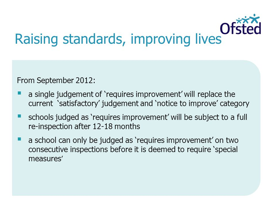 Raising standards, improving lives From September 2012: a single judgement of requires improvement will replace the current satisfactory judgement and notice to improve category schools judged as requires improvement will be subject to a full re-inspection after 12-18 months a school can only be judged as requires improvement on two consecutive inspections before it is deemed to require special measures